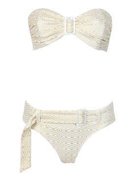 Lisa Marie Fernandez - Buckle Bandeau Bikini Set, Gold - Women