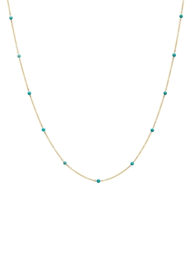 18kt Gold and turquoise-dot chain necklace