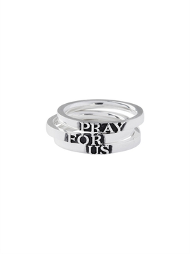Sterling Silver PRAY FOR US ring set
