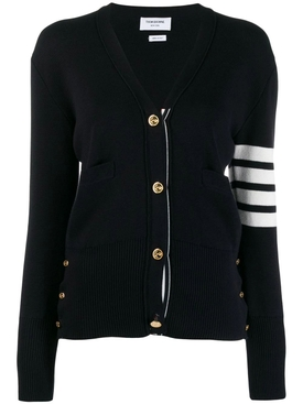 Thom Browne - Classic V-neck Cotton Cardigan Navy - Women