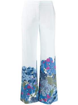 Valentino - Ivory And Blue Floral Pants - Women