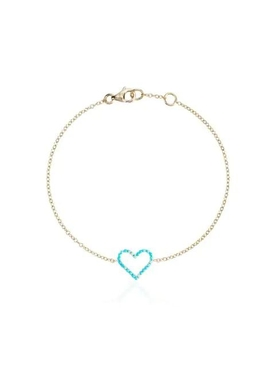 18kt Yellow Gold Turquoise Heart Bracelet