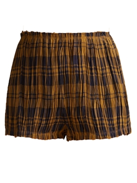 Hilary Brown Check Print Shorts