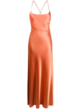 Galvan - Serena Satin Apricot Dress - Women
