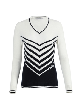 Valentino - Navy And Ivory Knit Sweater - Women