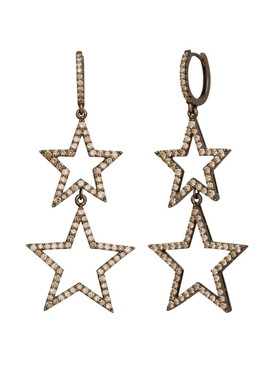 Double star diamond earrings