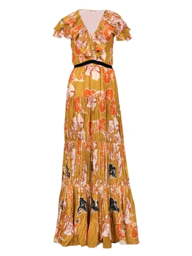 Golden Blossom Maxi Dress