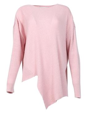 LUREX CREWNECK ASYMMETRIC JUMPER pink