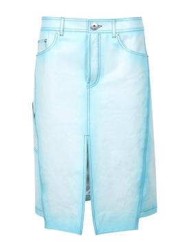 Denim Effect Leather Skirt