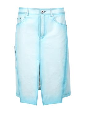 Lanvin - Denim Effect Leather Skirt - Women