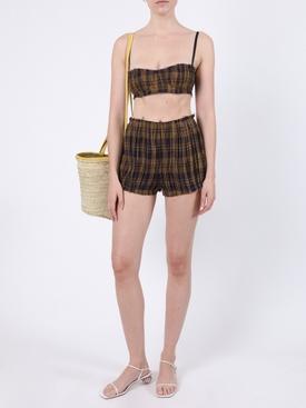 Hilary Brown Check Print Shorts
