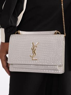 YSL Sunset Monogram Bag, White Croc