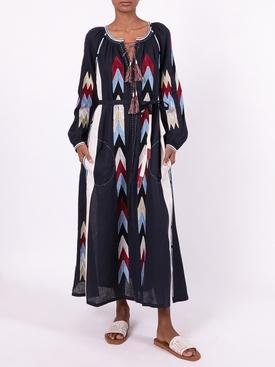 Arizona embroidered linen dress NAVY