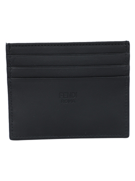 Black logo embossed card holder
