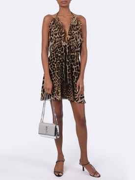 Silk leopard print mini dress