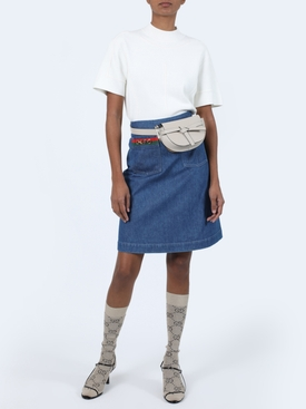 Pocket logo denim skirt