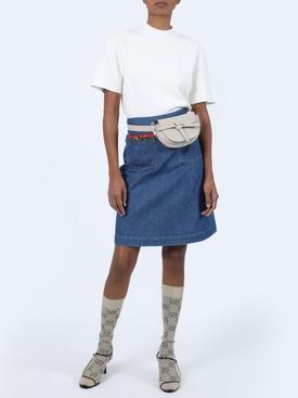 Pocket logo denim skirt