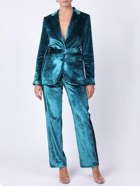Turquoise velvet blazer