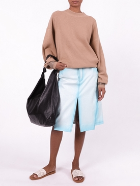 Crewneck sweater with Crystal Cuff CAMEL