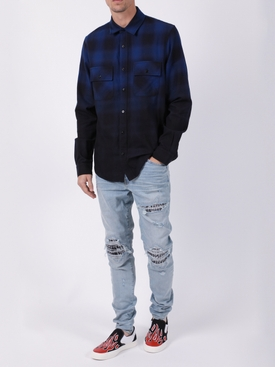 DIP DYE FLANNEL SHIRT BLUE