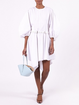 BALLOON SLEEVE ASYMMETRIC HEM DRESS