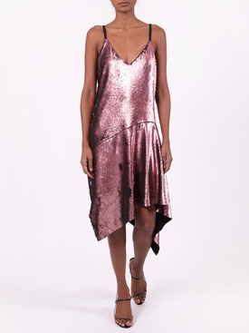 SEQUIN SLIP DRESS WITH DRAPED HEM