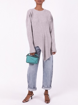 LUREX CREWNECK ASYMMETRIC JUMPER grey