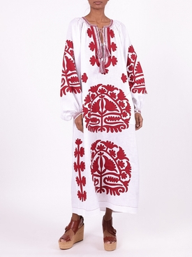 SHALIMAR MIDI DRESS WHITE AND BURGUNDY