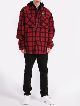 Check print layered shirt jacket RED