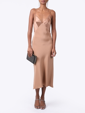 silk paneled midi dress CAMEL