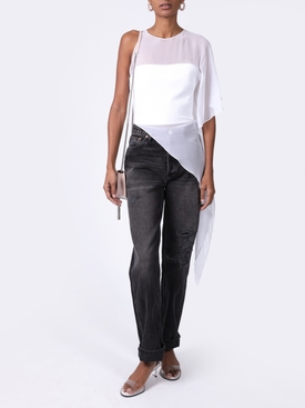 ONE SHOULDER SHEER ASYMMETRICAL TOP