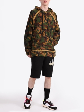 Printed camo cotton hoodie
