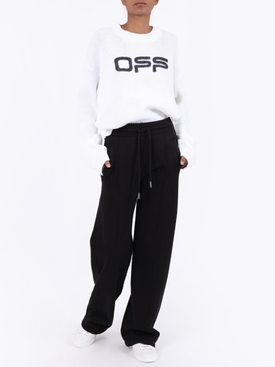 OFF LOGO RIBBED KNIT SWEATER WHITE