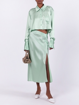 High-waisted midi skirt GREEN