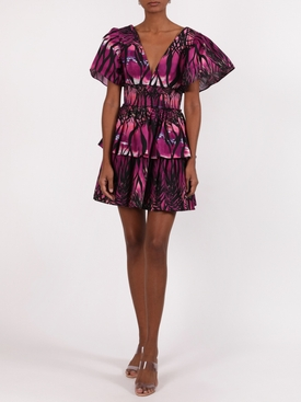 Dusk beach print dress, purple