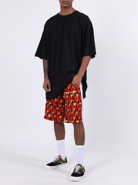 Flame print track shorts
