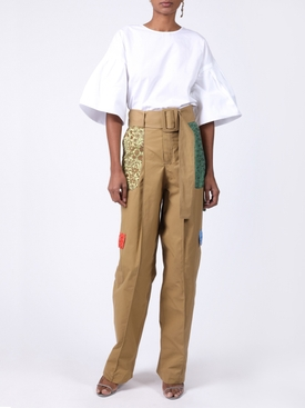 High waisted patchwork cargo trousers