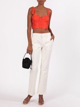 Jacquard bustier crop top, orange