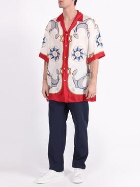 Silk anchor print bowling shirt