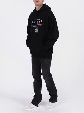 Paris embroidered logo hoodie BLACK