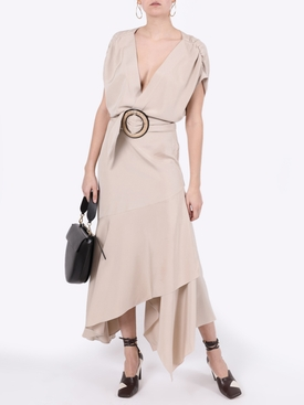 Neutral protea belted dress