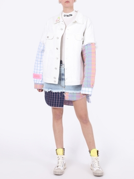 Asymmetric padded denim jacket