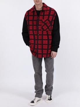 Plaid paneled shirt RED