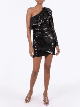 Black Sequinned Ruffle Dress