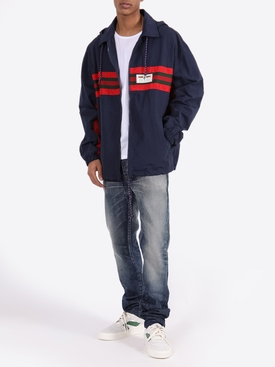 Navy and red stripe hooded jacket