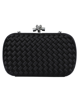 Woven box clutch with chain knot
