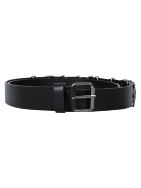 Black Gothic Logo Leather Belt