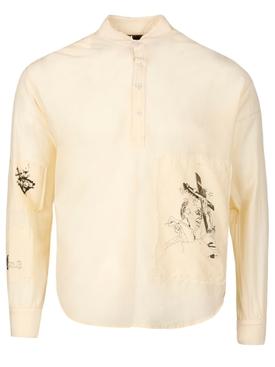 Sacred Order Mandarin Collar Shirt Cream