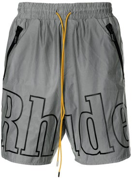 Rhude - Grey Logo-print Swimming Trunks - Men