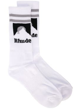 Rhude - White Ribbed Logo Socks - Men